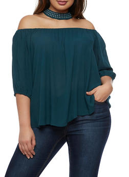 Plus Size Off The Shoulder Top with Studded Choker Attached - 3803056126419