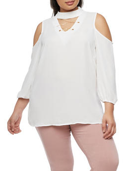 Plus Size Cold Shoulder Choker Top - WHITE - 3803056126420