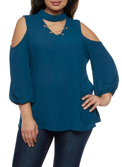 Plus Size Cold Shoulder Choker Top - 3803056126420