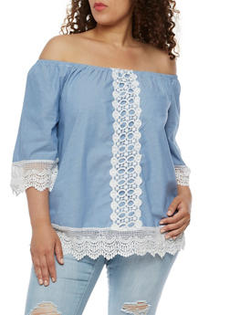 Plus Size Off the Shoulder Chambray Top with Crochet Trim - 3803056126424