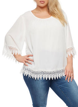 Plus Size Top with Crochet Trim - WHITE - 3803056126426