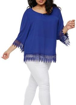 Plus Size Top with Crochet Trim - 3803056126426