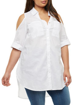 Plus Size Cold Shoulder Button Front Top - 3803056126434