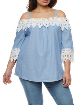 Plus Size Cold Shoulder Crochet Top - 3803056126435