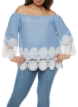 Plus Size Off the Shoulder Top with Crochet Trim - 3803056126436