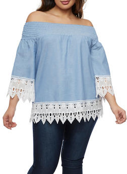 Plus Size Off the Shoulder Chambray Crochet Trim Top - 3803056126437