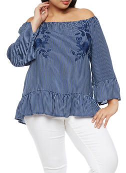 Plus Size Striped Floral Embroidered Off the Shoulder Top with Flounce Hem - 3803056126440