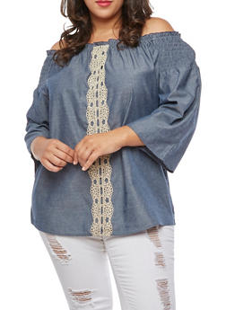 Plus Size Crochet Front Off the Shoulder Top - 3803056126442