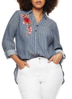 Plus Size Button Front Shirt with Floral Applique - 3803056126447