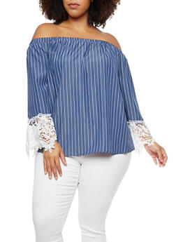 Plus Size Crochet Sleeve Off the Shoulder Top - 3803056126458