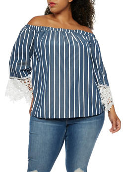 Plus Size Off the Shoulder Striped Chambray Top - 3803056126459