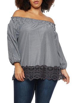 Plus Size Striped Off the Shoulder Top with Crochet Hem - 3803056126460