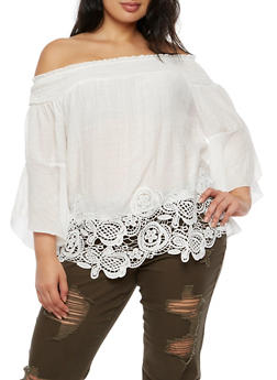 Plus Size Off the Shoulder Top with Bell Sleeves and Crochet Trim - IVORY - 3803056126466