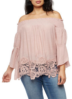 Plus Size Off the Shoulder Top with Bell Sleeves and Crochet Trim - MAUVE - 3803056126466