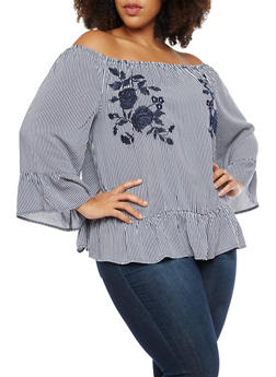 Plus Size Striped Off the Shoulder Top with Floral Embroidery - 3803056126478