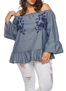 Plus Size Embroidered Chambray Off the Shoulder Top - 3803056126481