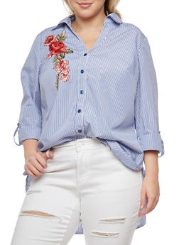 Plus Size Striped Button Front Shirt - 3803056126483