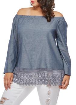 Plus Size Crochet Trim Off the Shoulder Top - 3803056126484