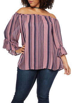 Plus Size Striped Off the Shoulder Top with Crochet Inserts - 3803056126511