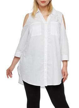 Plus Size Cold Shoulder Button-Down Top - 3803056127082