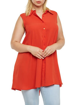 Plus Size Sleeveless Button Front Tunic Top - 3803056127088