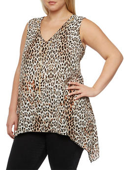 Plus Size Leopard Print Top with Chain Accented V-Neck - 3803056127208