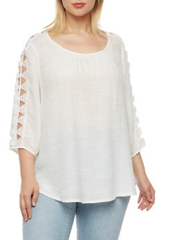 Plus Size Gauzy Top with Crochet Sleeve Accents - 3803056127344