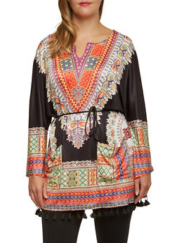 Plus Size Dashiki Print Tunic Top with Tassel Hem - 3803058750063