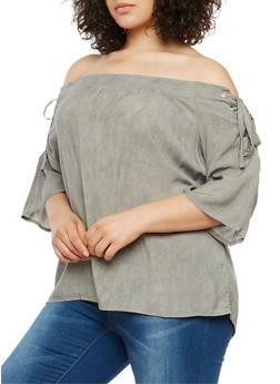 Plus Size Off the Shoulder Lace Up Top - 3803058750083