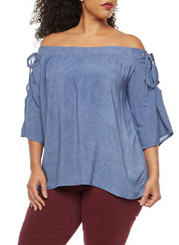 Plus Size Off the Shoulder Lace Up Top - 3803058750083