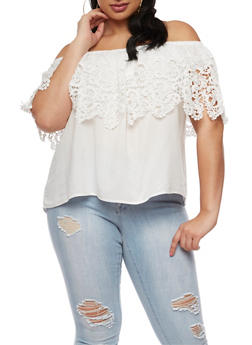 Plus Size Off the Shoulder Top with Crochet Overlay - IVORY - 3803058750186