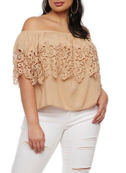 Plus Size Off the Shoulder Top with Crochet Overlay - 3803058750186