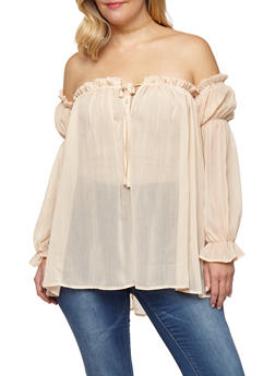 Plus Size Off the Shoulder Peasant Top - 3803058750214