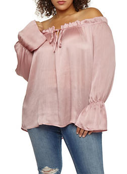 Plus Size Textured Knit Off the Shoulder Top - 3803058750215