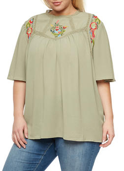 Plus Size Baby Doll Top with Floral Embroidery - 3803058750224