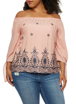 Plus Size Off the Shoulder Embroidered Top - 3803058751063