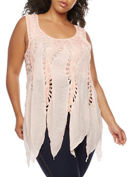 Plus Size Sleeveless Crochet Top - 3803058751152