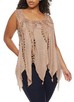 Plus Size Sleeveless Crochet Top - 3803058751152