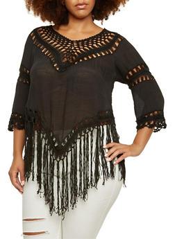 Plus Size Crochet V-Neck Top with Fringe Hem - 3803058751520