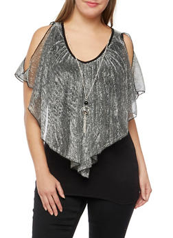 Plus Size Metallic Top with Removable Necklace - 3803058751565