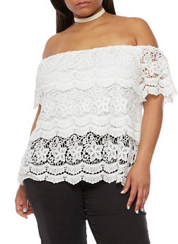 Plus Size Off the Shoulder Tiered Crochet Top - 3803058751762