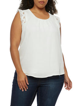 Plus Size Sleeveless Crochet Trim Top - WHITE - 3803058751861