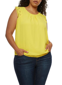 Plus Size Sleeveless Crochet Trim Top - 3803058751861