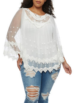 Plus Size Long Sleeve Crochet and Mesh Blouse - IVORY - 3803058753682