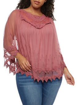 Plus Size Long Sleeve Crochet and Mesh Blouse - 3803058753682
