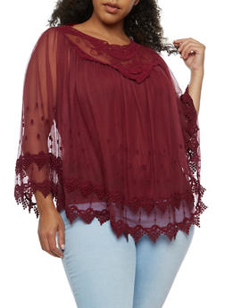 Plus Size Long Sleeve Crochet and Mesh Blouse - BURGUNDY - 3803058753682