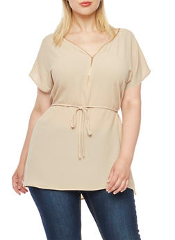 Plus Size Crepe Blouse with Zip V-Neck - 3803058754807