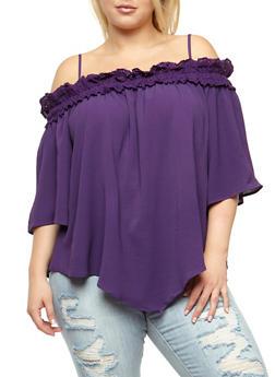 Plus Size Off the Shoulder Crepe Knit Top - 3803058757260