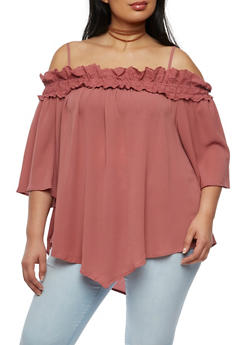 Plus Size Off the Shoulder Crepe Knit Top - 3803058757260