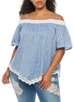 Plus Size Striped Off the Shoulder Top with Crochet Trim - 3803058757287
